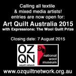Reminder: Art Quilt Australia 2015 entries close 7 August