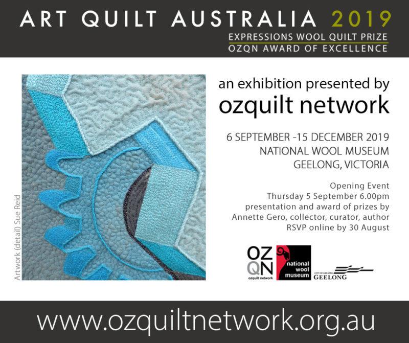 Artwork by Sue Reid in Art Quilt Australia 2019