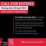 Art Quilt Australia One Month Reminder Graphic